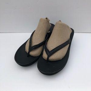 Kenneth Cole black rhinestone wedge flip flops